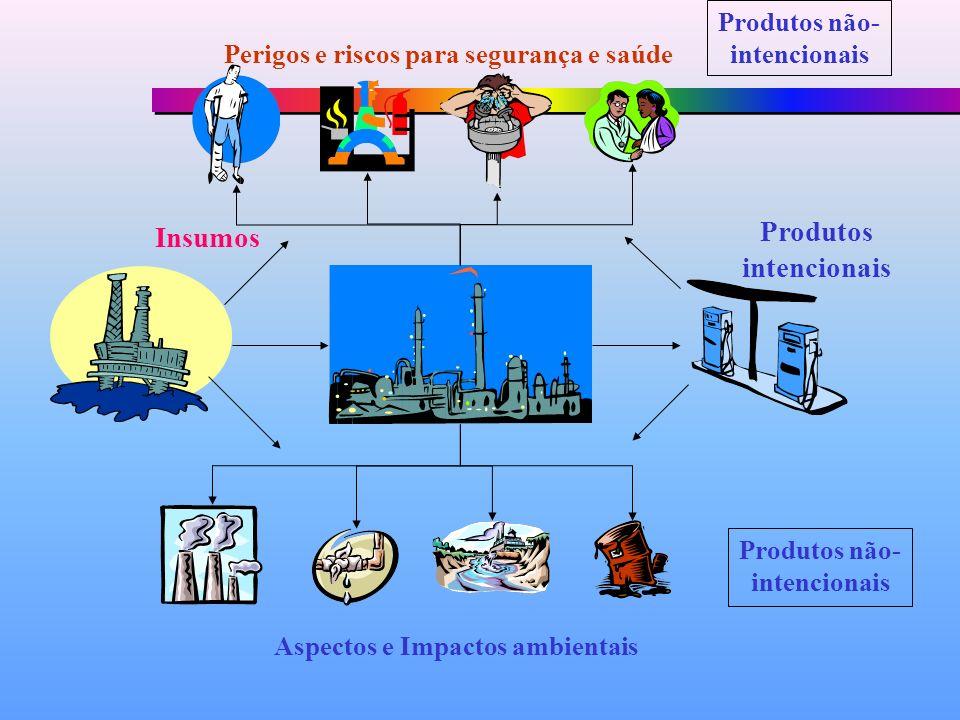 Insumos Produtos intencionais Aspectos e Impactos ambientais Perigos e riscos para segurança e saúde Produtos não- intencionais