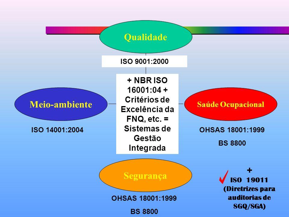 Qualidade Meio-ambiente Segurança Saúde Ocupacional ISO 9001:2000 ISO 14001:2004OHSAS 18001:1999 BS 8800 OHSAS 18001:1999 BS 8800 + NBR ISO 16001:04 + Critérios de Excelência da FNQ, etc.