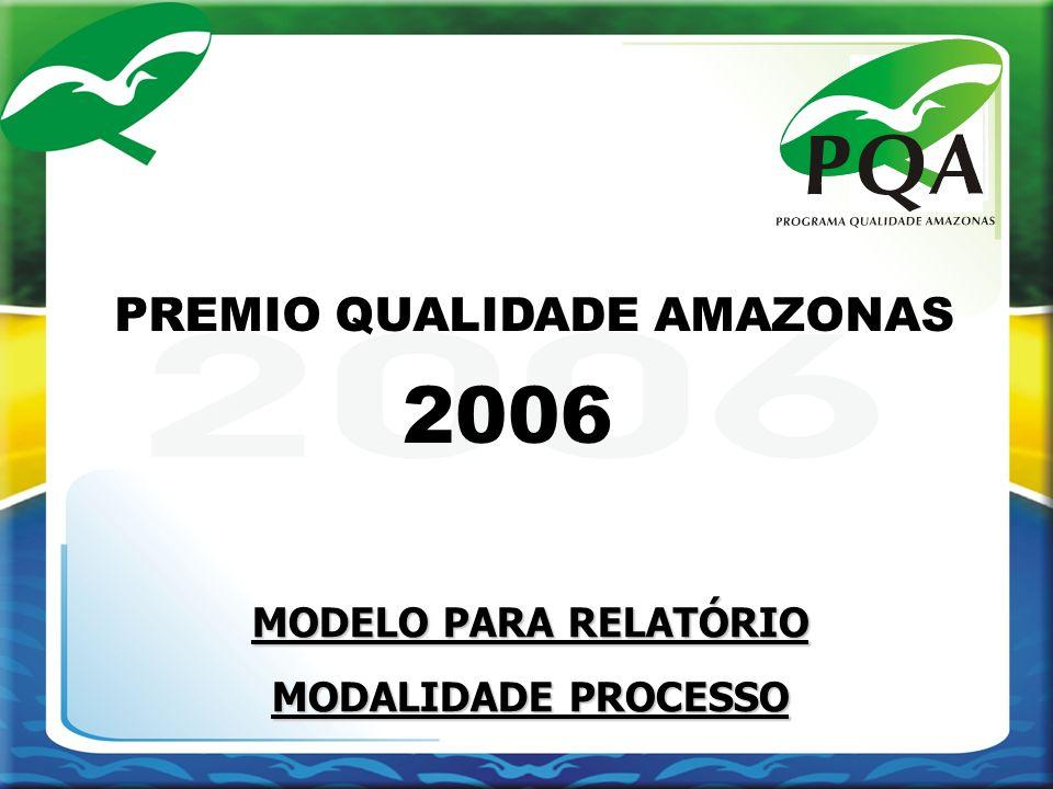 MODELO PARA RELATÓRIO MODALIDADE PROCESSO 2006 PREMIO QUALIDADE AMAZONAS