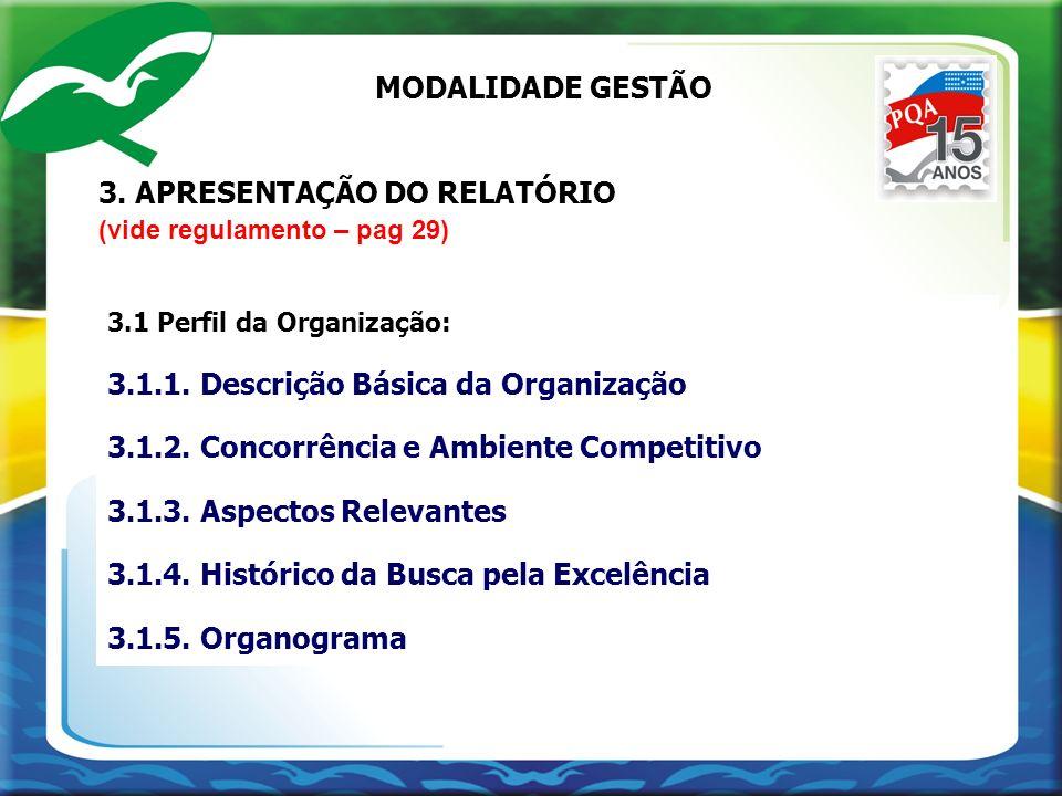 3. APRESENTAÇÃO DO RELATÓRIO (vide regulamento – pag 29) 3.1 Perfil da Organização: 3.1.1. Descrição Básica da Organização 3.1.2. Concorrência e Ambie