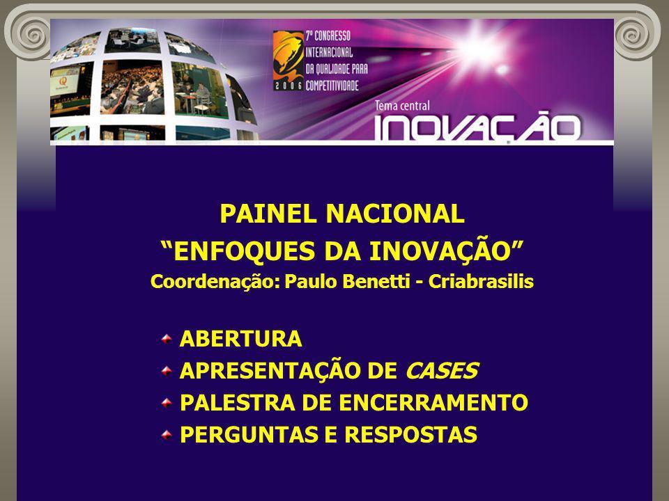 PAINEL NACIONAL ENFOQUES DA INOVAÇÃO Coordenação: Paulo Benetti - Criabrasilis ABERTURA APRESENTAÇÃO DE CASES PALESTRA DE ENCERRAMENTO PERGUNTAS E RESPOSTAS