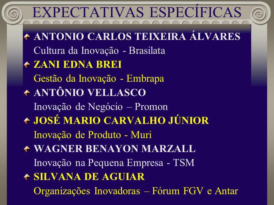 EXPECTATIVAS ESPECÍFICAS ANTONIO CARLOS TEIXEIRA ÁLVARES Cultura da Inovação - Brasilata ZANI EDNA BREI Gestão da Inovação - Embrapa ANTÔNIO VELLASCO Inovação de Negócio – Promon JOSÉ MARIO CARVALHO JÚNIOR Inovação de Produto - Muri WAGNER BENAYON MARZALL Inovação na Pequena Empresa - TSM SILVANA DE AGUIAR Organizações Inovadoras – Fórum FGV e Antar