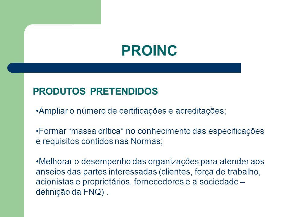 PROINC PRODUTOS PRETENDIDOS Ampliar o número de certificações e acreditações; Formar massa crítica no conhecimento das especificações e requisitos con