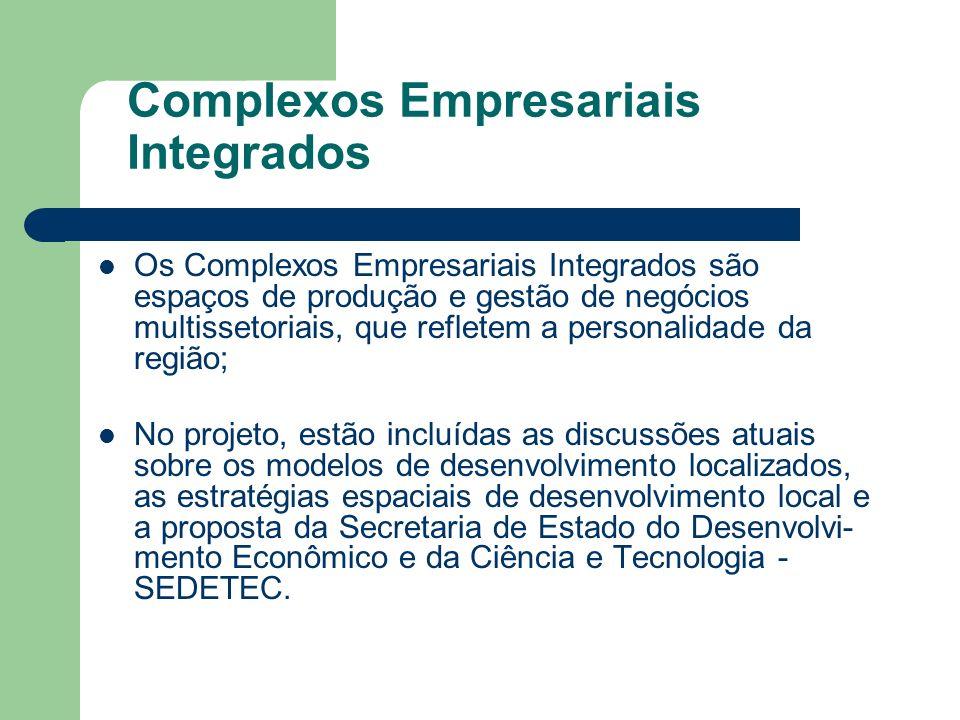 Os Complexos Empresariais Integrados são espaços de produção e gestão de negócios multissetoriais, que refletem a personalidade da região; No projeto,
