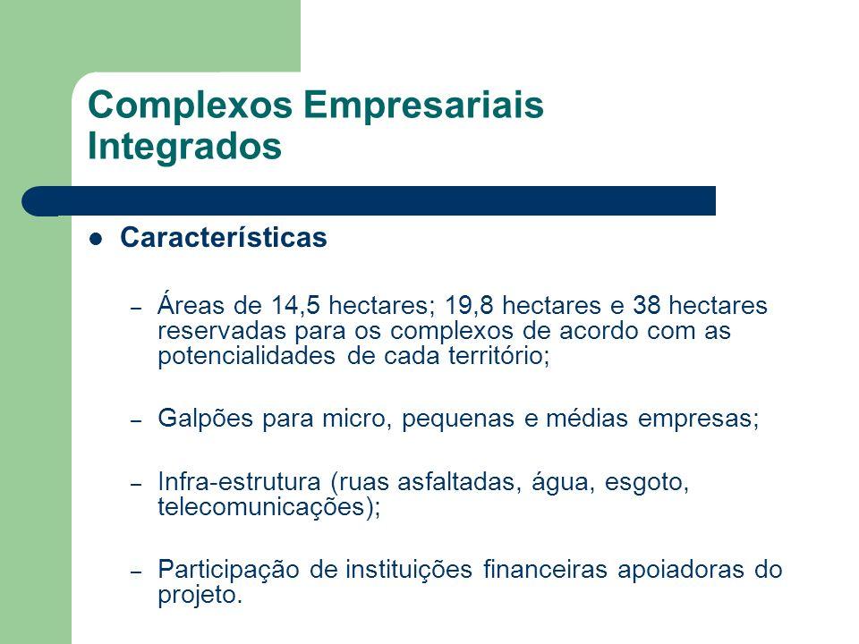 Complexos Empresariais Integrados Características – Áreas de 14,5 hectares; 19,8 hectares e 38 hectares reservadas para os complexos de acordo com as