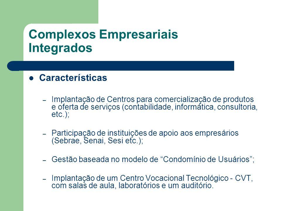 Complexos Empresariais Integrados Características – Implantação de Centros para comercialização de produtos e oferta de serviços (contabilidade, infor