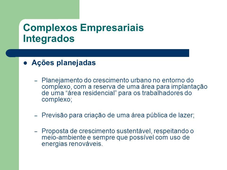 Complexos Empresariais Integrados Ações planejadas – Planejamento do crescimento urbano no entorno do complexo, com a reserva de uma área para implant