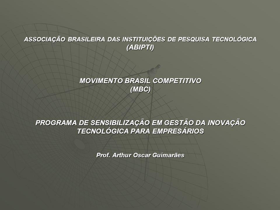ASSOCIAÇÃO BRASILEIRA DAS INSTITUIÇÕES DE PESQUISA TECNOLÓGICA (ABIPTI) MOVIMENTO BRASIL COMPETITIVO (MBC) PROGRAMA DE SENSIBILIZAÇÃO EM GESTÃO DA INO