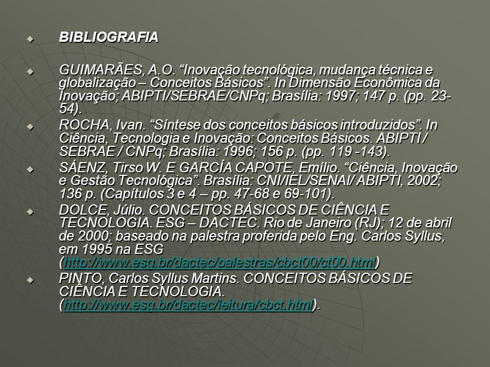 BIBLIOGRAFIA BIBLIOGRAFIA GUIMARÃES, A.O. Inovação tecnológica, mudança técnica e globalização – Conceitos Básicos. In Dimensão Econômica da Inovação;