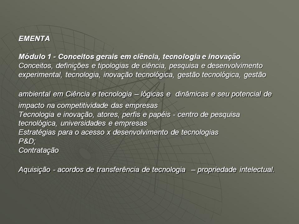 EMENTA Módulo 1 - Conceitos gerais em ciência, tecnologia e inovação Conceitos, definições e tipologias de ciência, pesquisa e desenvolvimento experim