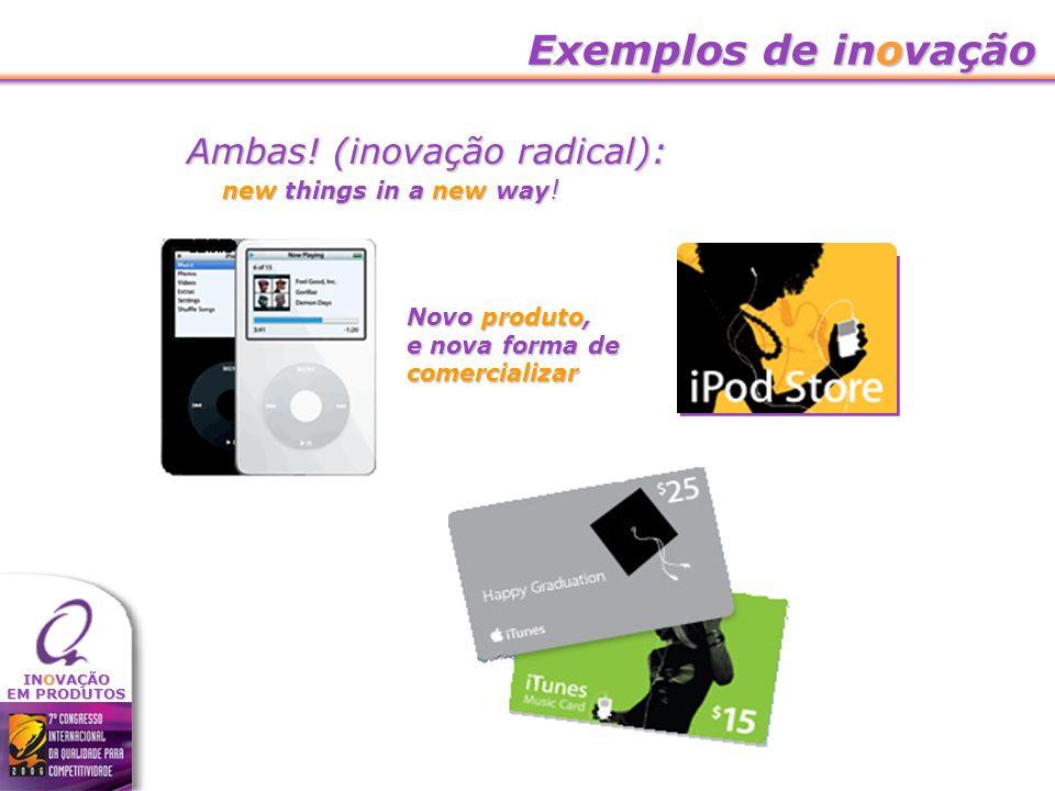 INOVAÇÃO EM PRODUTOS Exemplos de inovação Ambas! (inovação radical): Novo produto, e nova forma de comercializar new things in a new way !