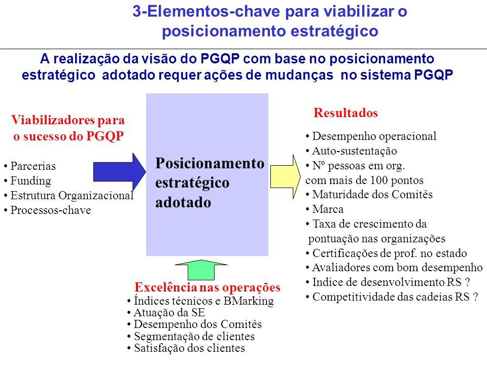 3-Elementos-chave para viabilizar o posicionamento estratégico Viabilizadores para o sucesso do PGQP Parcerias Funding Estrutura Organizacional Proces