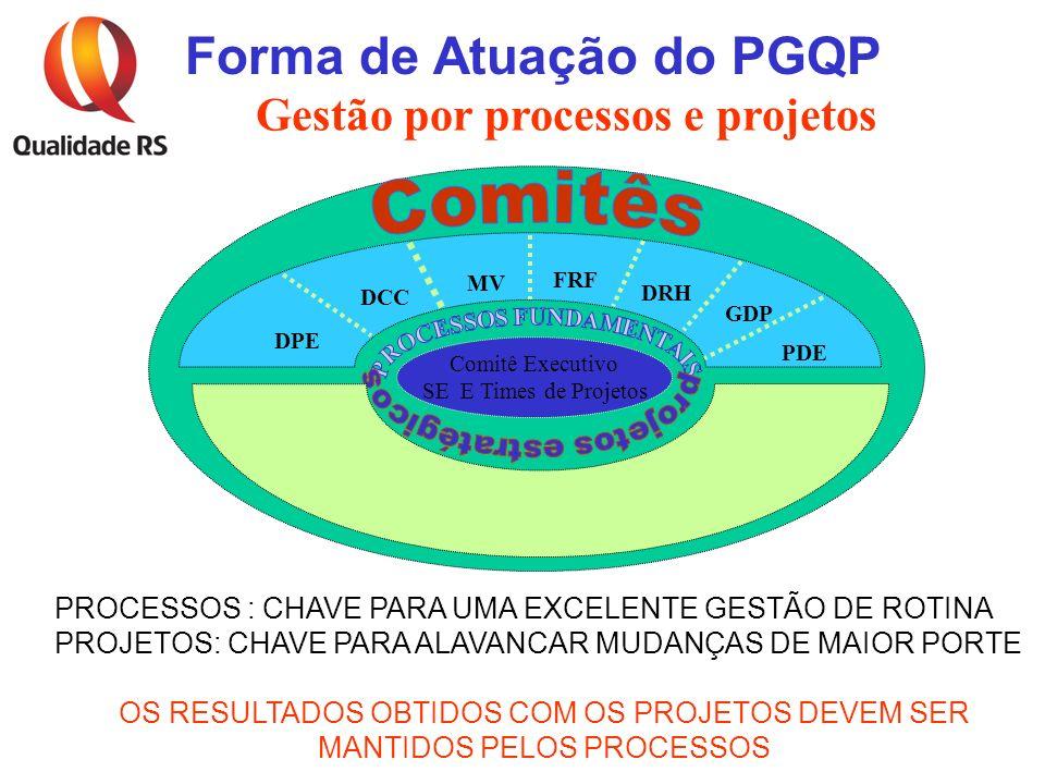 Comitê Executivo SE E Times de Projetos DPE DCC MV FRF DRH GDP PDE Gestão por processos e projetos Forma de Atuação do PGQP PROCESSOS : CHAVE PARA UMA