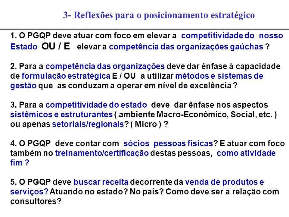 3- Reflexões para o posicionamento estratégico 1. O PGQP deve atuar com foco em elevar a competitividade do nosso Estado OU / E elevar a competência d