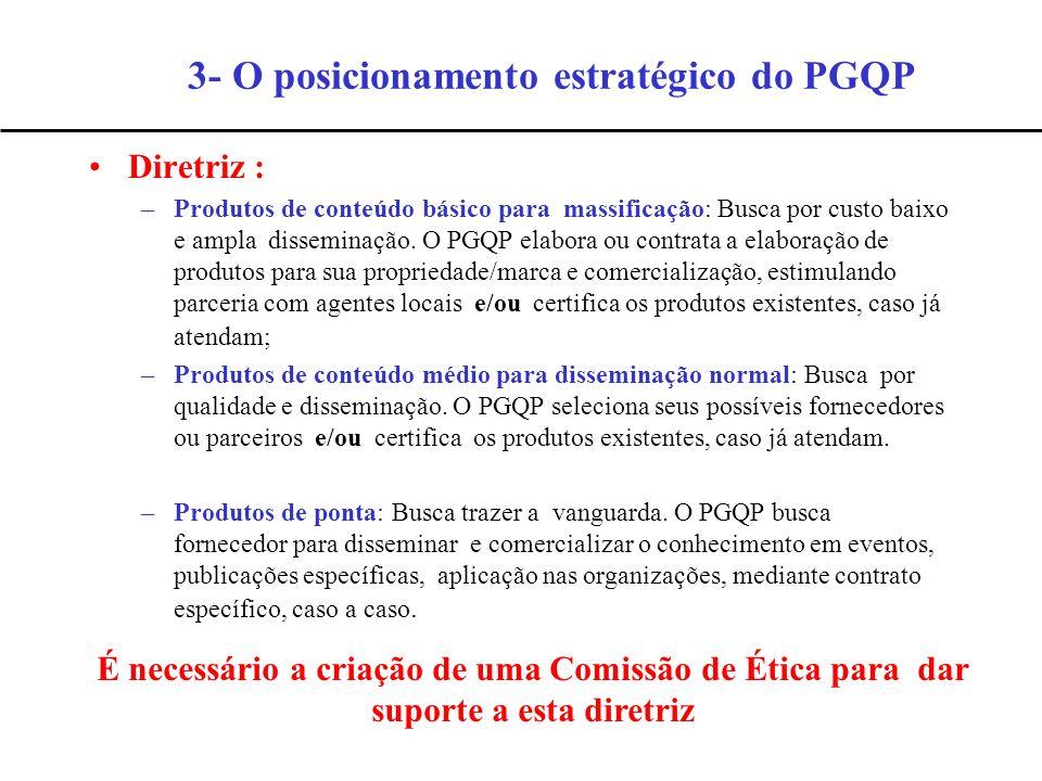 Diretriz : –Produtos de conteúdo básico para massificação: Busca por custo baixo e ampla disseminação. O PGQP elabora ou contrata a elaboração de prod