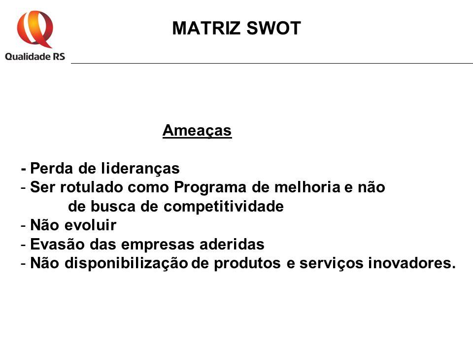 MATRIZ SWOT Ameaças - Perda de lideranças - Ser rotulado como Programa de melhoria e não de busca de competitividade - Não evoluir - Evasão das empres