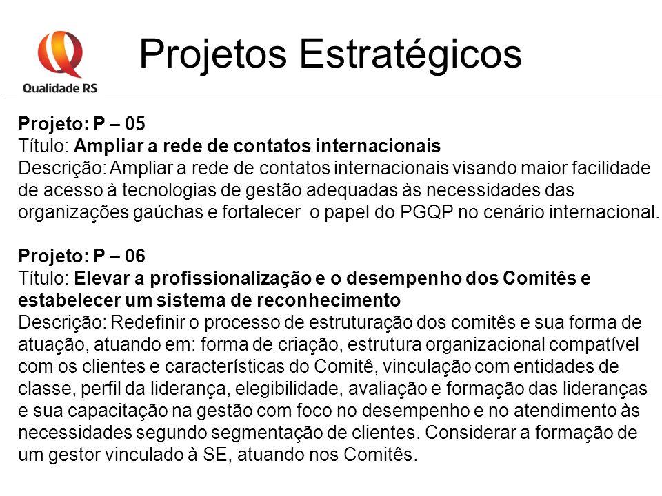 Projetos Estratégicos Projeto: P – 05 Título: Ampliar a rede de contatos internacionais Descrição: Ampliar a rede de contatos internacionais visando m