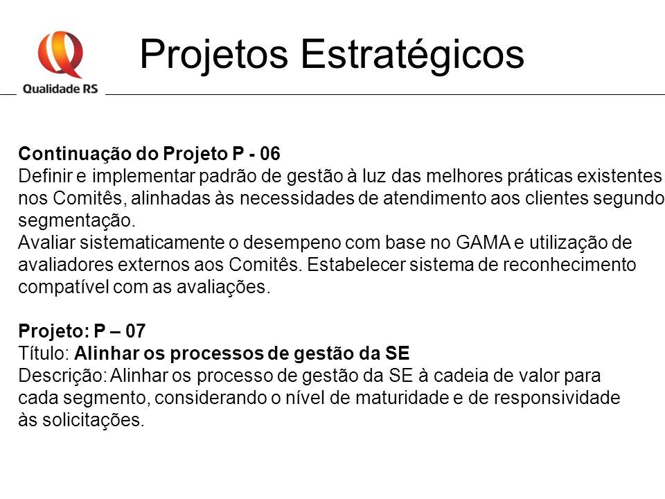 Projetos Estratégicos Continuação do Projeto P - 06 Definir e implementar padrão de gestão à luz das melhores práticas existentes nos Comitês, alinhad
