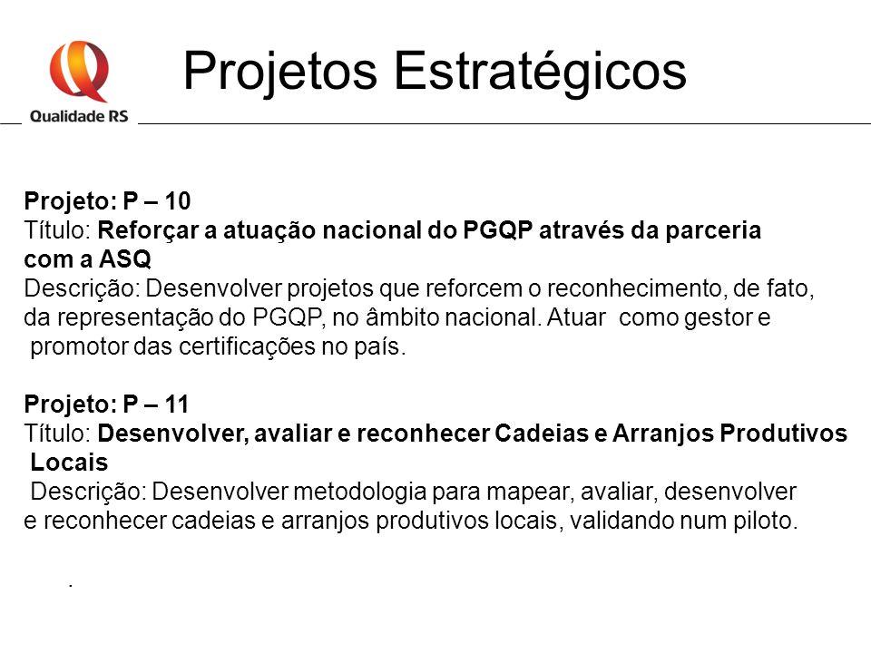 Projetos Estratégicos Projeto: P – 10 Título: Reforçar a atuação nacional do PGQP através da parceria com a ASQ Descrição: Desenvolver projetos que re