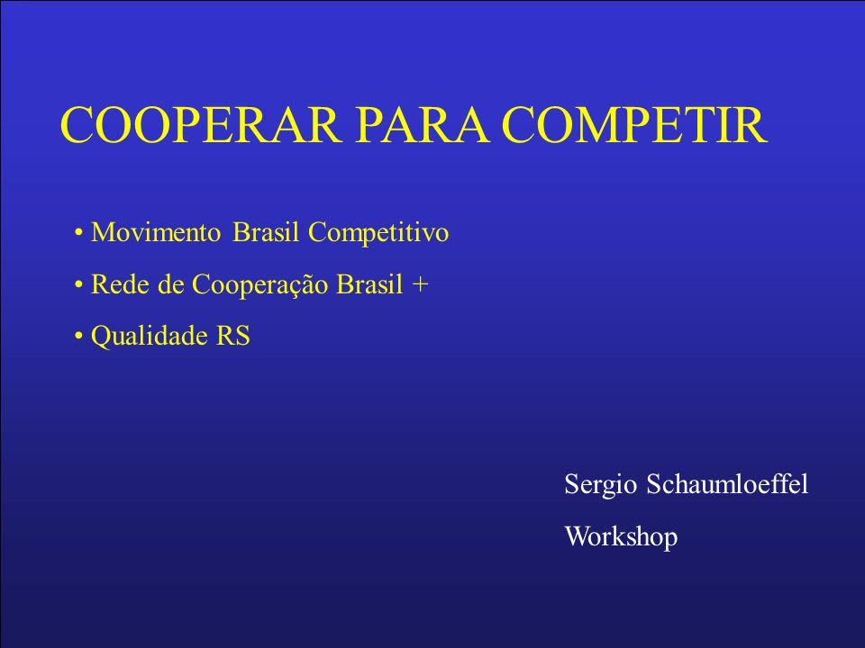 COOPERAR PARA COMPETIR Movimento Brasil Competitivo Rede de Cooperação Brasil + Qualidade RS Sergio Schaumloeffel Workshop