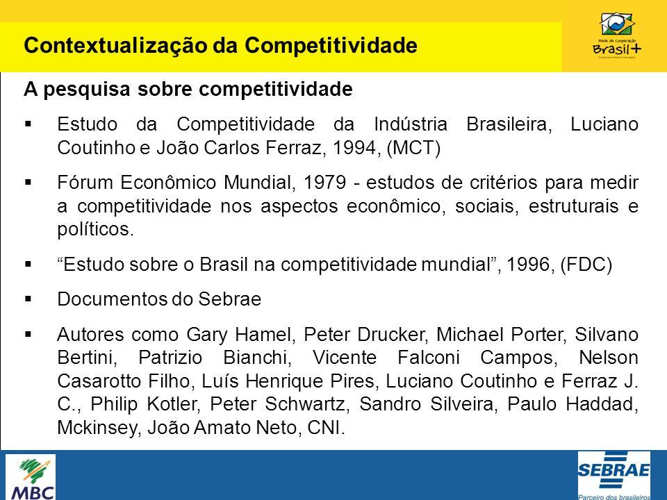 A pesquisa sobre competitividade Estudo da Competitividade da Indústria Brasileira, Luciano Coutinho e João Carlos Ferraz, 1994, (MCT) Fórum Econômico