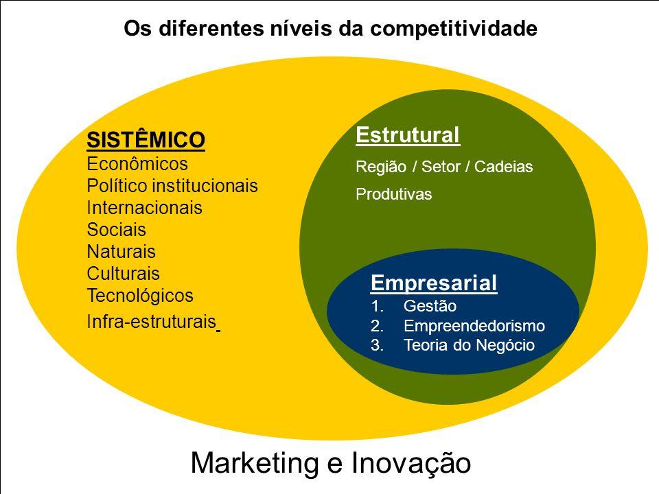 Os diferentes níveis da competitividade Interno 1. Teoria do Negócio 2. Gestão 3. Empreendedorismo Marketing e Inovação Empresarial 1.Gestão 2.Empreen
