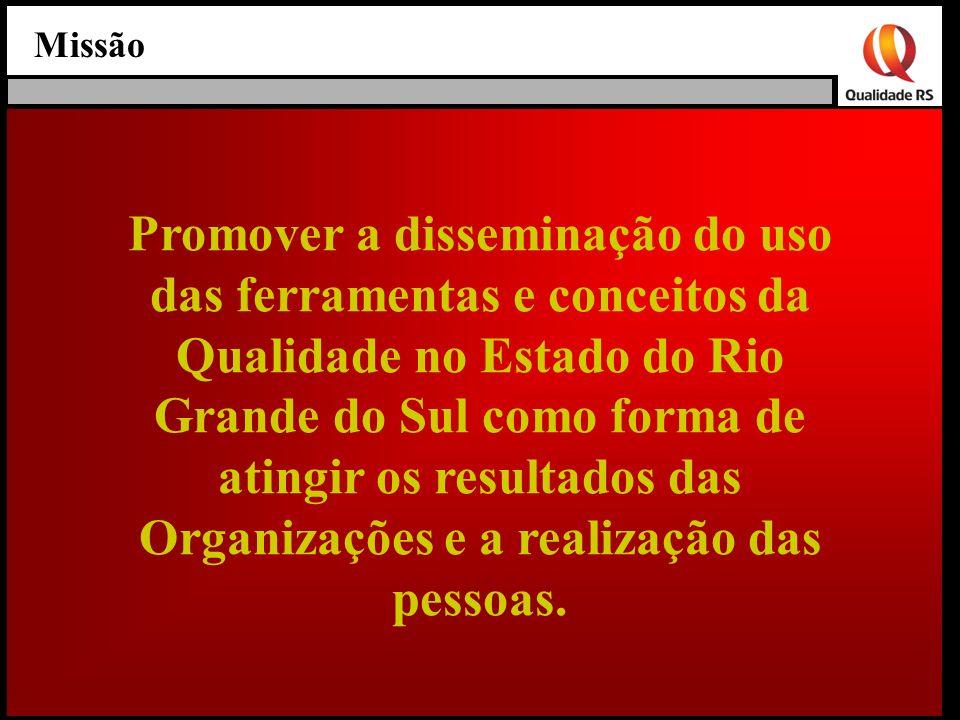 Missão Promover a disseminação do uso das ferramentas e conceitos da Qualidade no Estado do Rio Grande do Sul como forma de atingir os resultados das