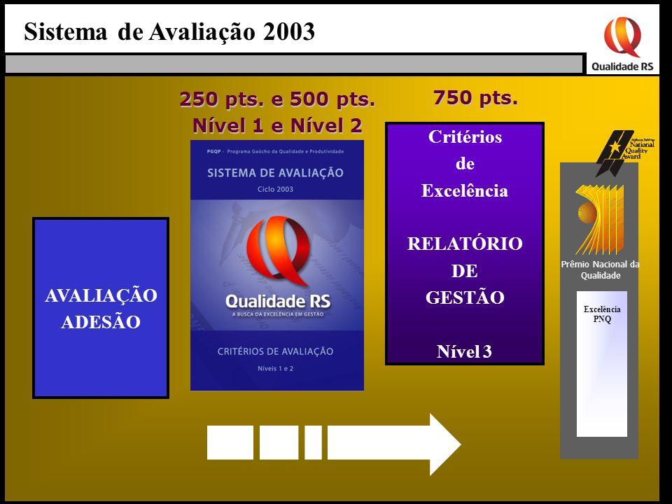 Sistema de Avaliação 2003 Excelência PNQ AVALIAÇÃO ADESÃO 250 pts. e 500 pts. Nível 1 e Nível 2 750 pts. Prêmio Nacional da Qualidade Critérios de Exc