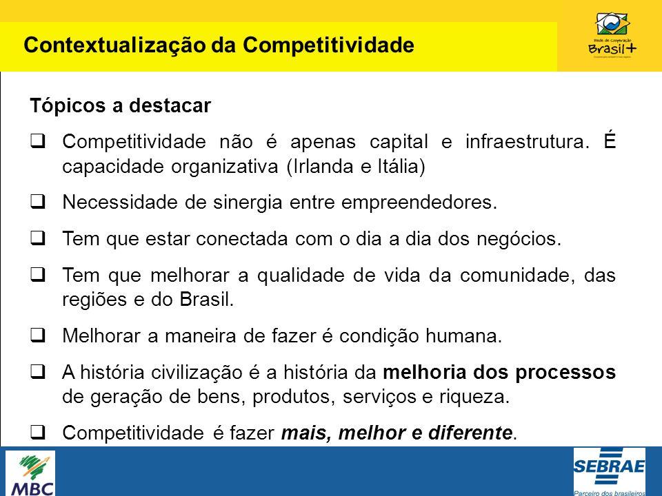 Tópicos a destacar Competitividade não é apenas capital e infraestrutura. É capacidade organizativa (Irlanda e Itália) Necessidade de sinergia entre e