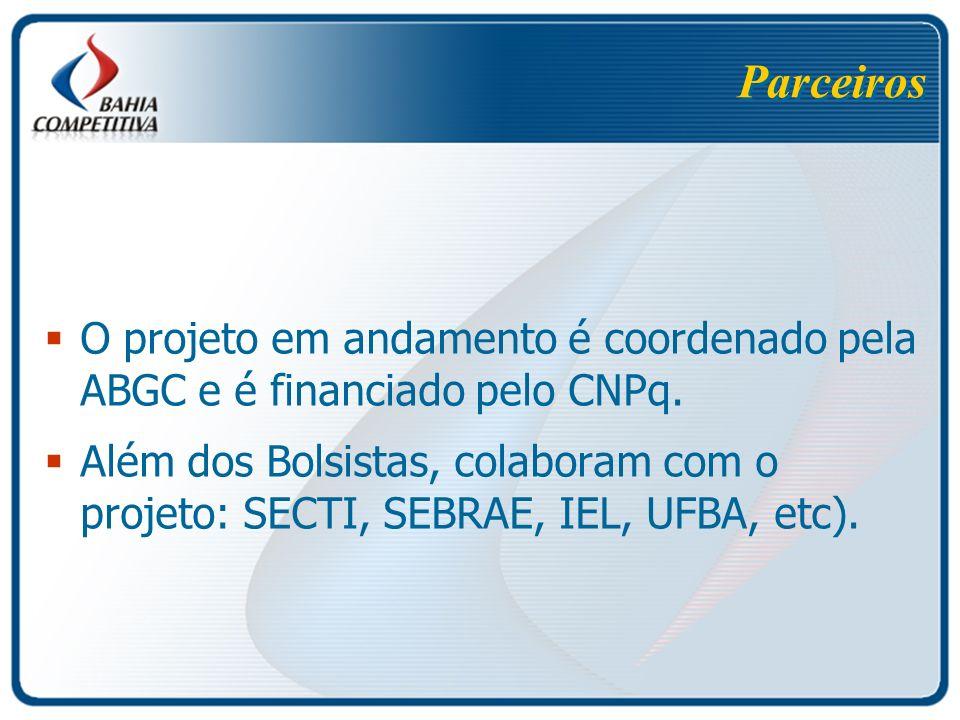 Parceiros O projeto em andamento é coordenado pela ABGC e é financiado pelo CNPq.