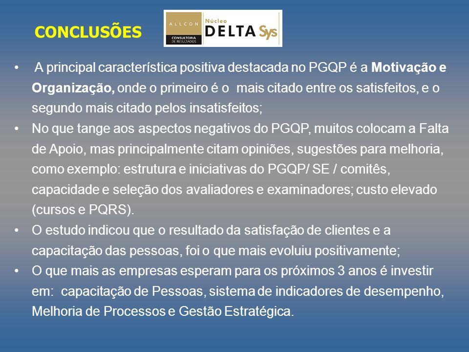A principal característica positiva destacada no PGQP é a Motivação e Organização, onde o primeiro é o mais citado entre os satisfeitos, e o segundo m