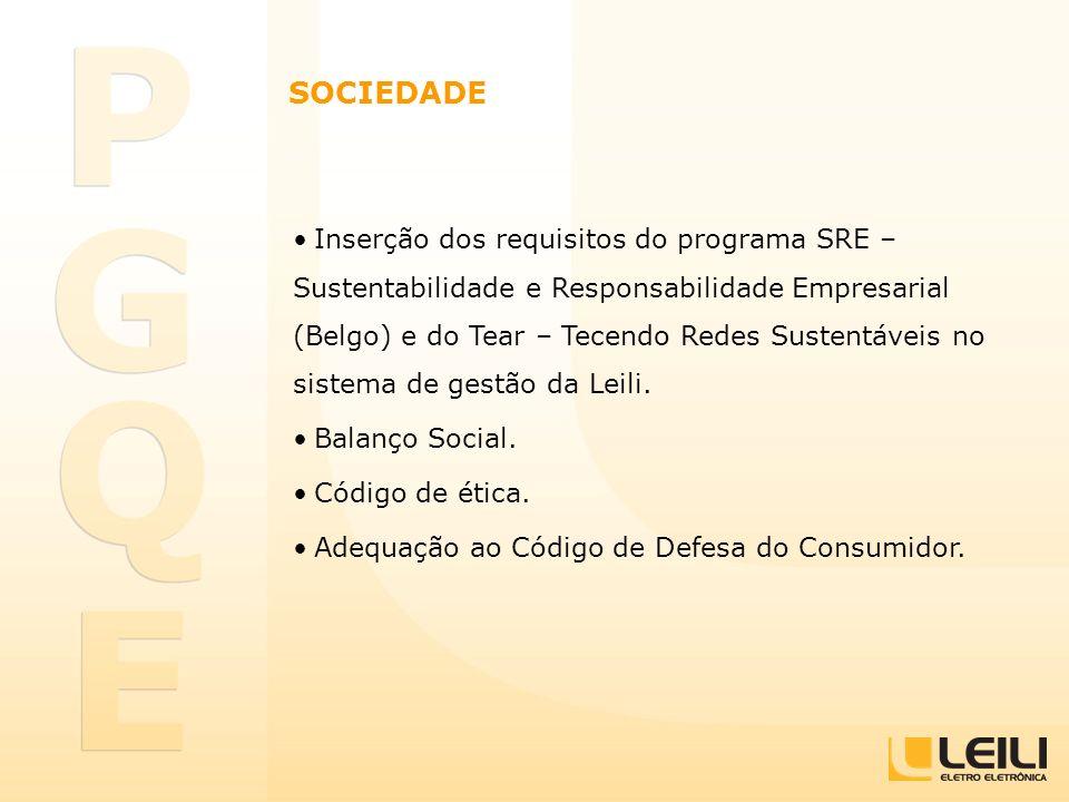 SOCIEDADE Inserção dos requisitos do programa SRE – Sustentabilidade e Responsabilidade Empresarial (Belgo) e do Tear – Tecendo Redes Sustentáveis no