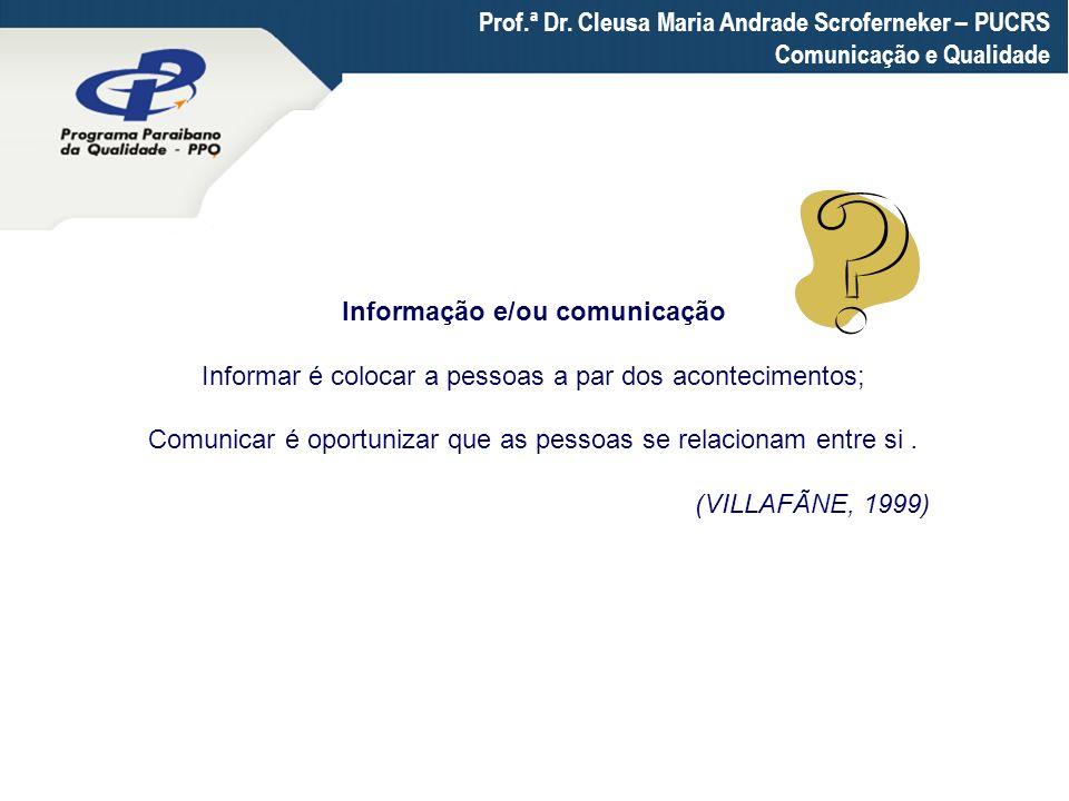 Prof.ª Dr. Cleusa Maria Andrade Scroferneker – PUCRS Comunicação e Qualidade Informação e/ou comunicação Informar é colocar a pessoas a par dos aconte