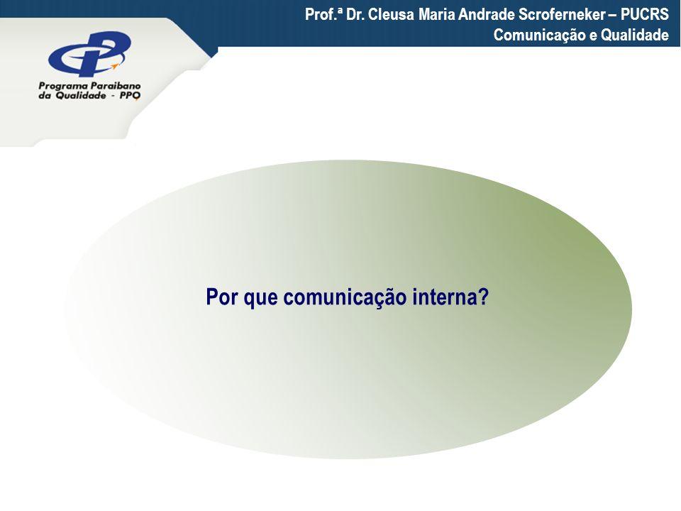 Por que comunicação interna? Prof.ª Dr. Cleusa Maria Andrade Scroferneker – PUCRS Comunicação e Qualidade