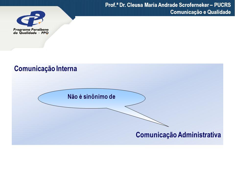 Comunicação Administrativa Não é sinônimo de Prof.ª Dr. Cleusa Maria Andrade Scroferneker – PUCRS Comunicação e Qualidade