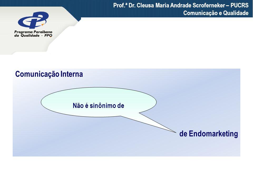 Comunicação Interna de Endomarketing Não é sinônimo de Prof.ª Dr. Cleusa Maria Andrade Scroferneker – PUCRS Comunicação e Qualidade