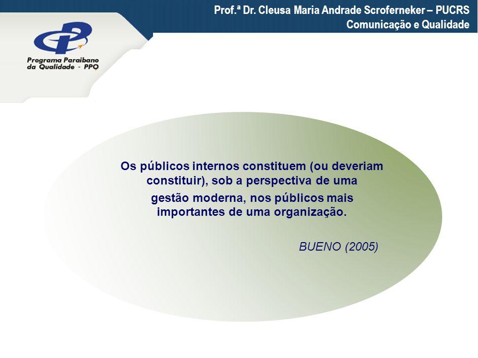 Prof.ª Dr. Cleusa Maria Andrade Scroferneker – PUCRS Comunicação e Qualidade Os públicos internos constituem (ou deveriam constituir), sob a perspecti