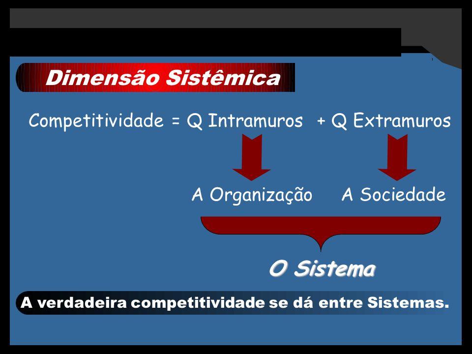 Dimensão Sistêmica Competitividade = Q Intramuros + Q Extramuros A OrganizaçãoA Sociedade O Sistema A verdadeira competitividade se dá entre Sistemas.