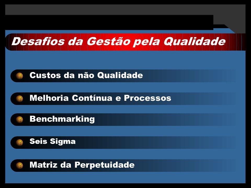 Desafios da Gestão pela Qualidade Custos da não Qualidade Melhoria Contínua e Processos Benchmarking Seis Sigma Matriz da Perpetuidade