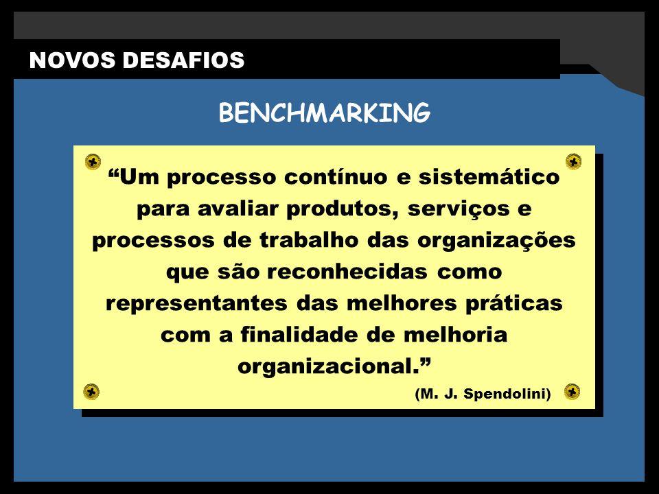 BENCHMARKING NOVOS DESAFIOS Serviços Excelentes Um processo contínuo e sistemático para avaliar produtos, serviços e processos de trabalho das organizações que são reconhecidas como representantes das melhores práticas com a finalidade de melhoria organizacional.