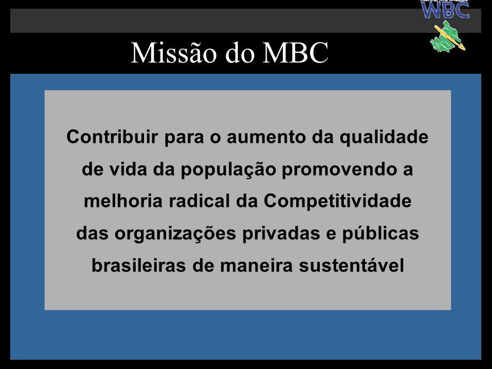 Missão do MBC Contribuir para o aumento da qualidade de vida da população promovendo a melhoria radical da Competitividade das organizações privadas e públicas brasileiras de maneira sustentável