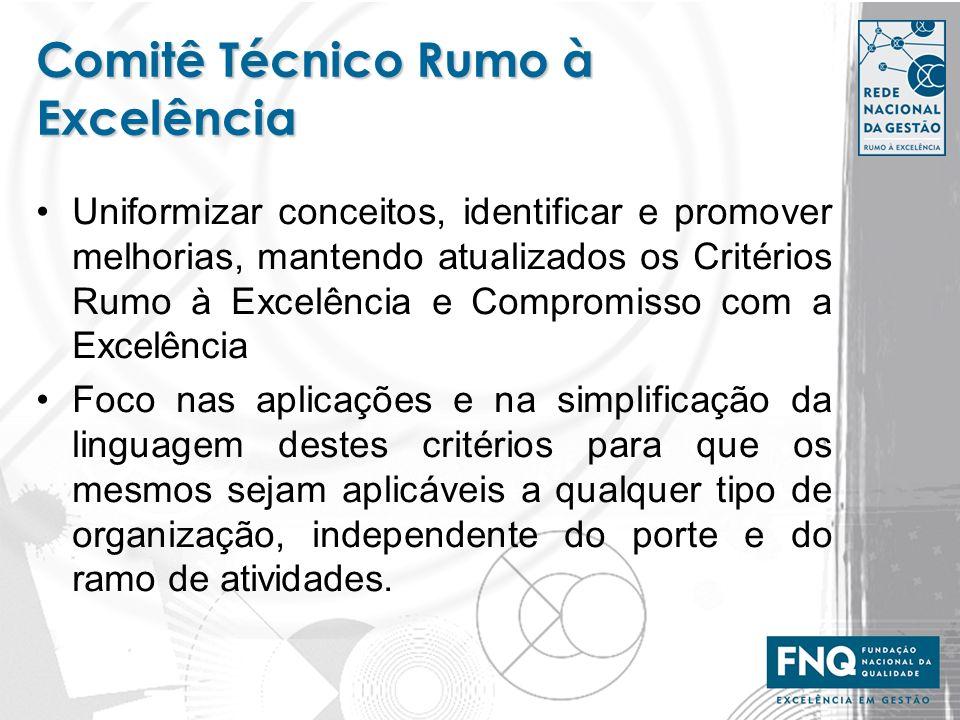 Comitê Técnico Rumo à Excelência Uniformizar conceitos, identificar e promover melhorias, mantendo atualizados os Critérios Rumo à Excelência e Compro