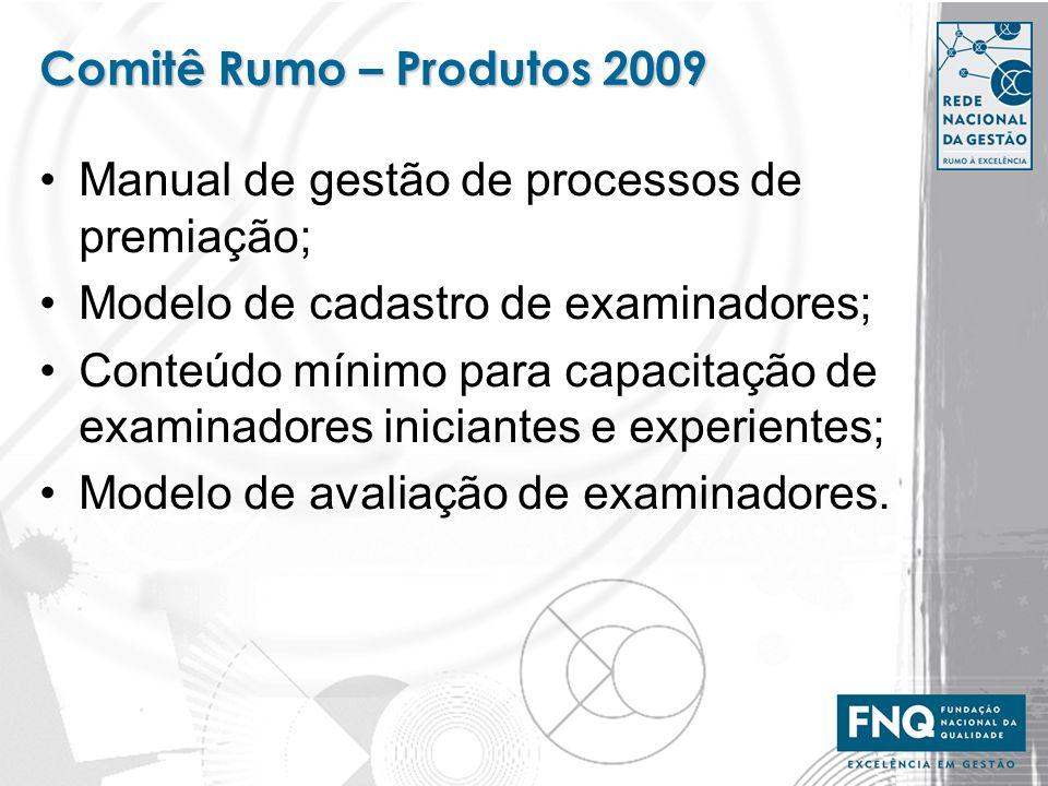 Comitê Rumo – Produtos 2009 Manual de gestão de processos de premiação; Modelo de cadastro de examinadores; Conteúdo mínimo para capacitação de examin