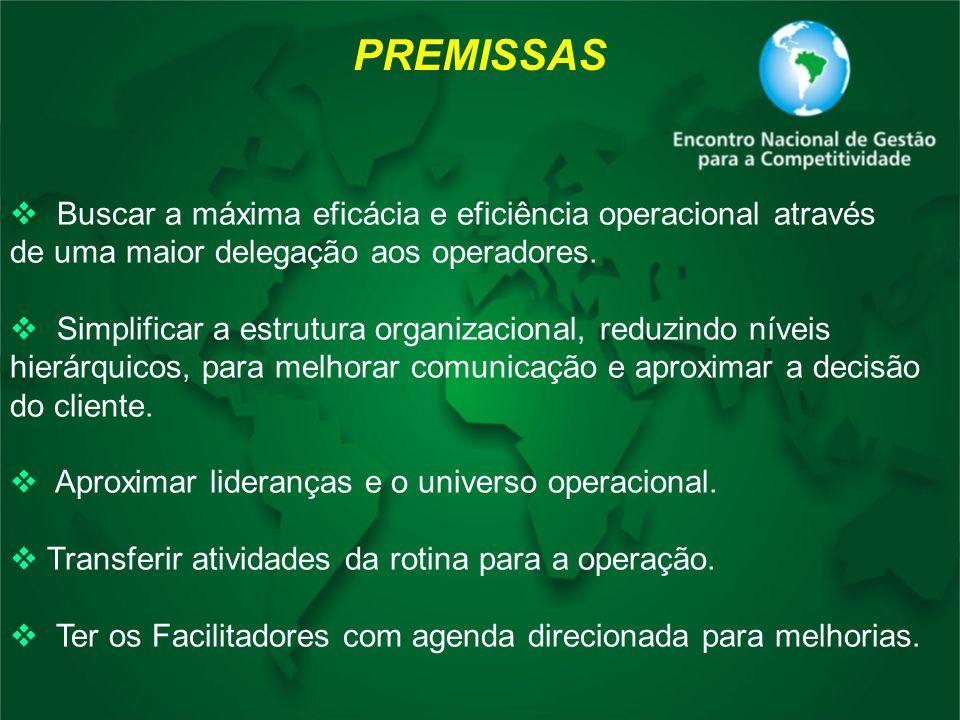 PREMISSAS Buscar a máxima eficácia e eficiência operacional através de uma maior delegação aos operadores. Simplificar a estrutura organizacional, red