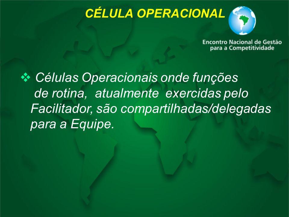 CÉLULA OPERACIONAL Células Operacionais onde funções de rotina, atualmente exercidas pelo Facilitador, são compartilhadas/delegadas para a Equipe.