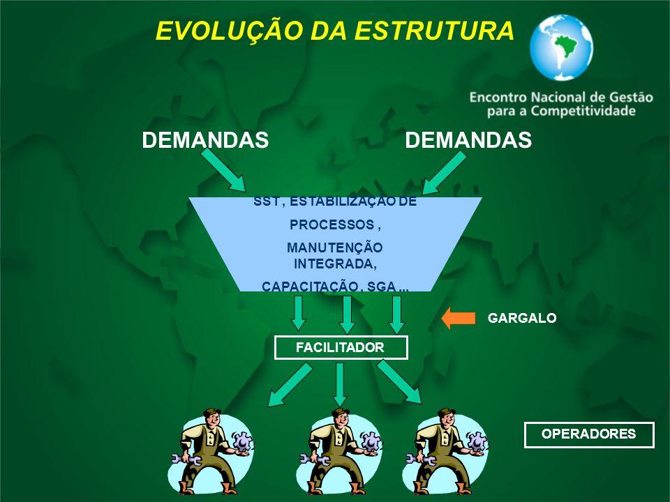 DEMANDAS SST, ESTABILIZAÇÃO DE PROCESSOS, MANUTENÇÃO INTEGRADA, CAPACITAÇÃO, SGA... EVOLUÇÃO DA ESTRUTURA FACILITADOR OPERADORES GARGALO