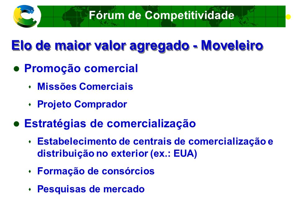 Fórum de Competitividade Elo de maior valor agregado - Moveleiro Qualidade Selo setorial de qualidade Núcleo de Inteligência Econômica e de Mercado Business Plan