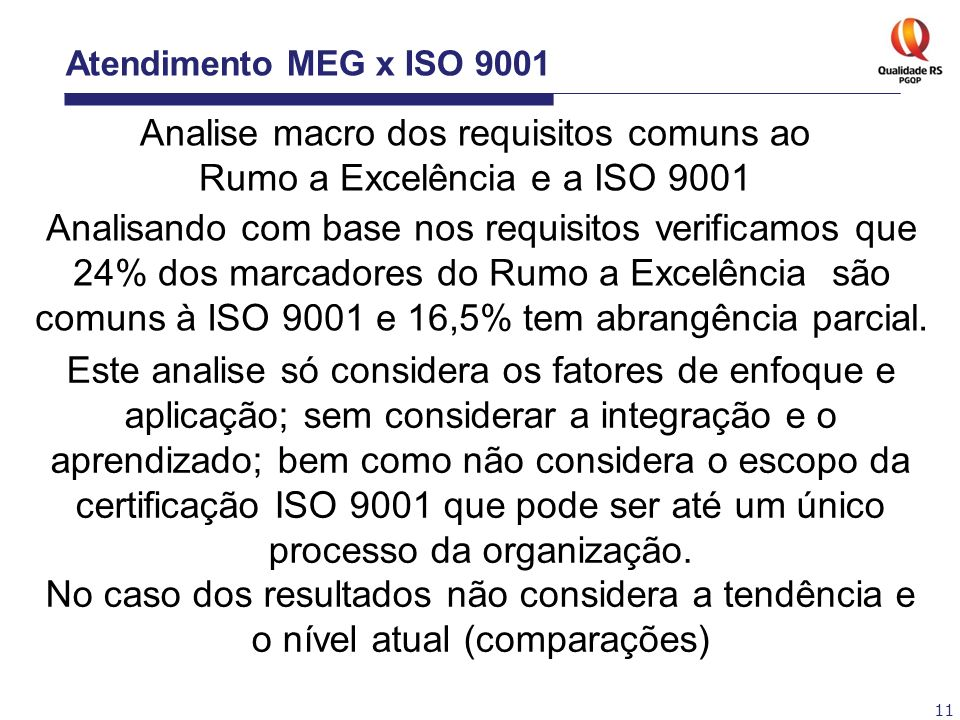 11 Atendimento MEG x ISO 9001 Analise macro dos requisitos comuns ao Rumo a Excelência e a ISO 9001 Analisando com base nos requisitos verificamos que
