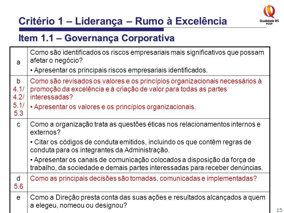 15 Critério 1 – Liderança – Rumo à Excelência Item 1.1 – Governança Corporativa a Como são identificados os riscos empresariais mais significativos qu