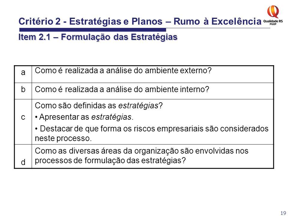 19 a Como é realizada a análise do ambiente externo? bComo é realizada a análise do ambiente interno? c Como são definidas as estratégias? Apresentar